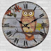 020943 Fashion Creative Personality Cartoon Design Adornment Mute Wooden Wall Clock Free Shipping