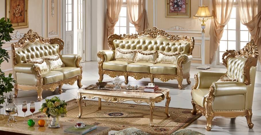 Antique Gold Classical American Leather Sofa Set 0409 FS1023