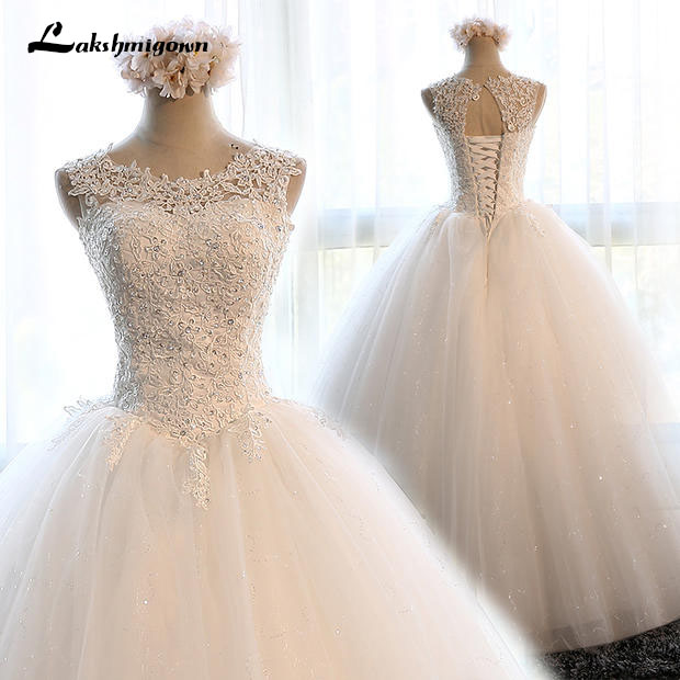 Elegant White Organza Ball Gowns Wedding Dresses 2019 Tulle Beading with Crystal Bride Wedding Gowns robe