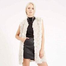 arlene sain 2016 hot sale he fashion fox fur sleeveless o-neck black and white fur jacket