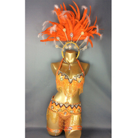 free shipping2016 hot selling Sexy Samba Rio Carnival Costume new belly dance costume with Orange Feather Head piece