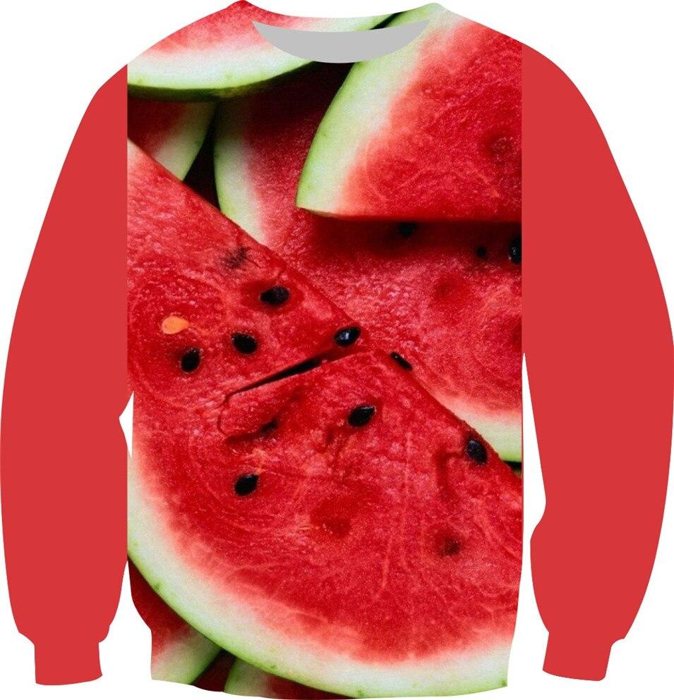 2018 Autumn New Red And Green Color Sweatshirt 3D Print watermelon Plant Weed Design Hoodies Warm Fleece Pullover Crewneck Tops