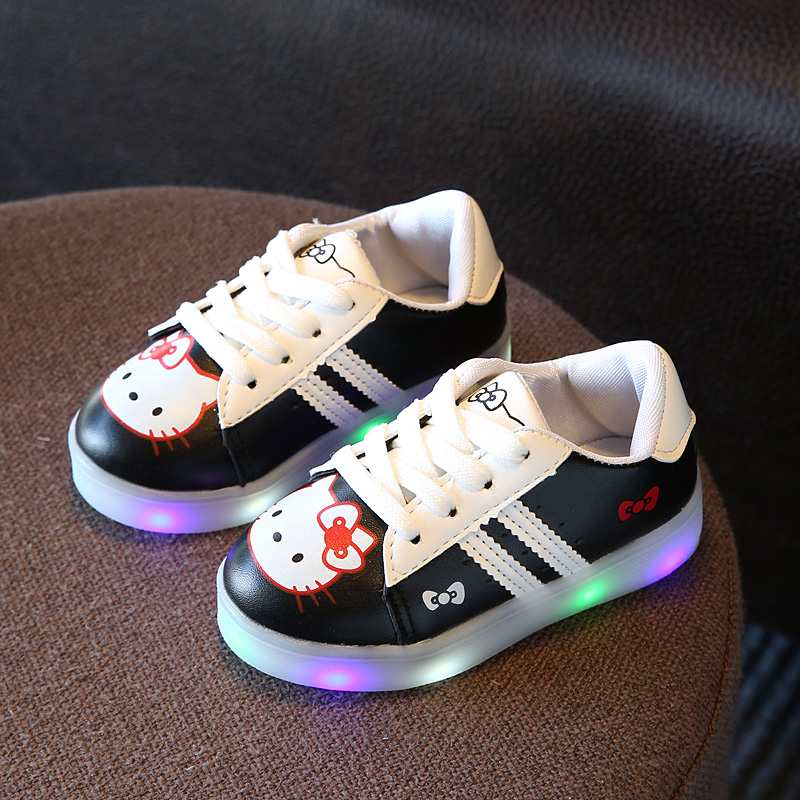 New 2017 European casual Cool LED Light girls boys shoes Cute casual baby glowing sneakers Net
