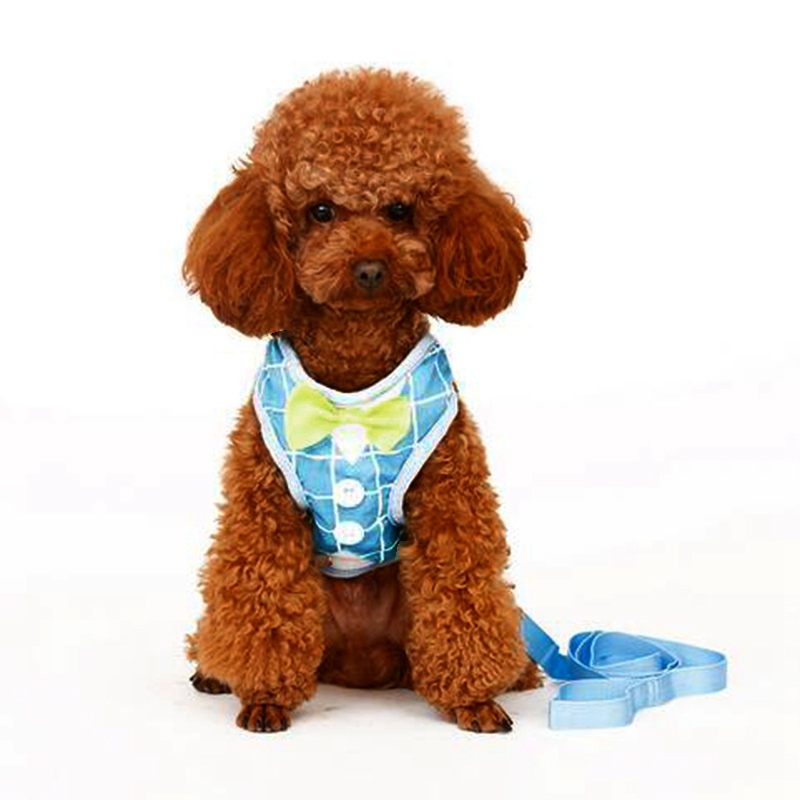 Popular Sale Dog Leads Cute Breathable Vest Harnesses Puppy Cat Collars Pets Chest Strap Leash Set With Lovely Bowtie