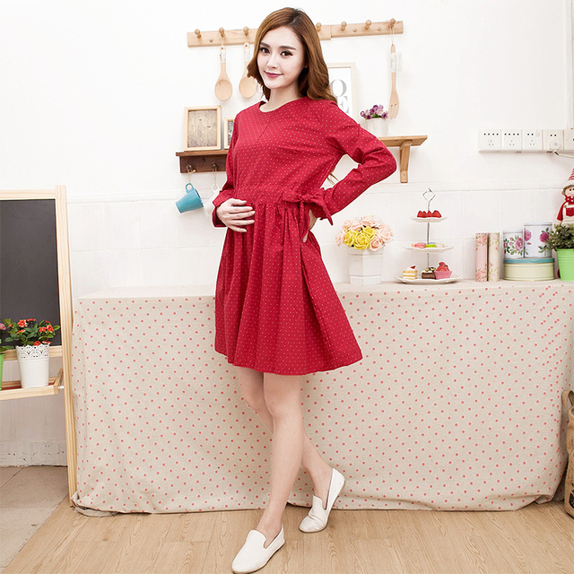 Autumn Maternity Dresses cotton maternity clothes long sleeve pregnancy clothes dot print loose knee-length nursing dresses