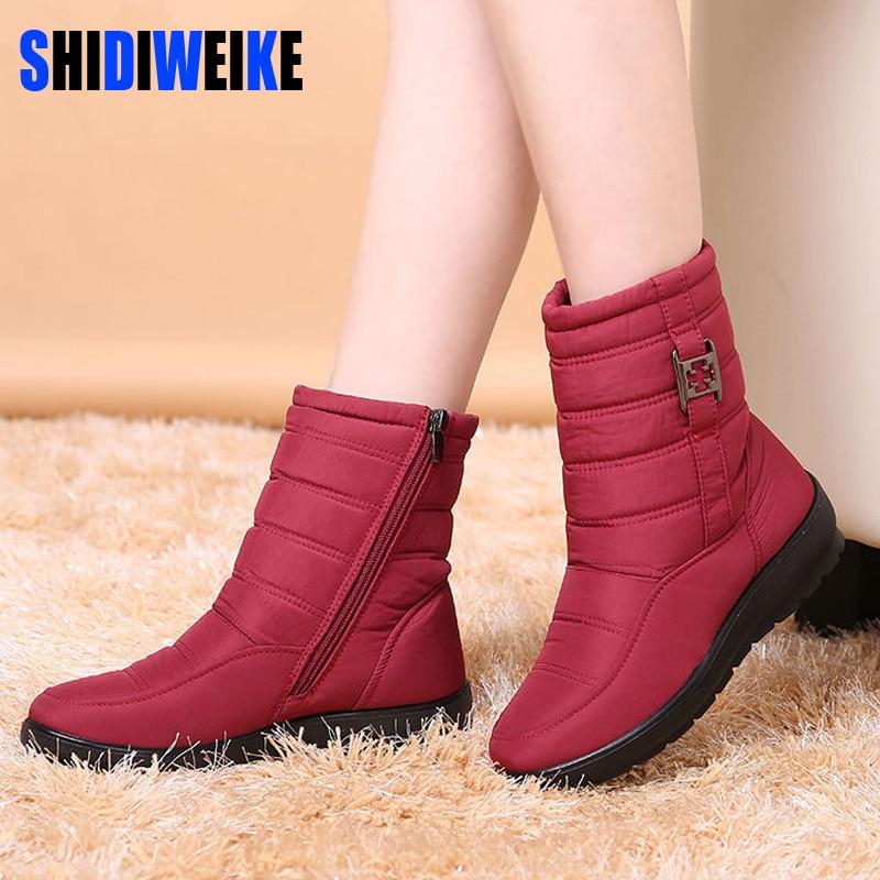 SHIDIWEI 2018 botas para la nieve de las mujeres de la marca botas de invierno zapatos de madre zapatos antideslizante impermeable Flexible de la moda de las mujeres botas Casual Plus tamaño