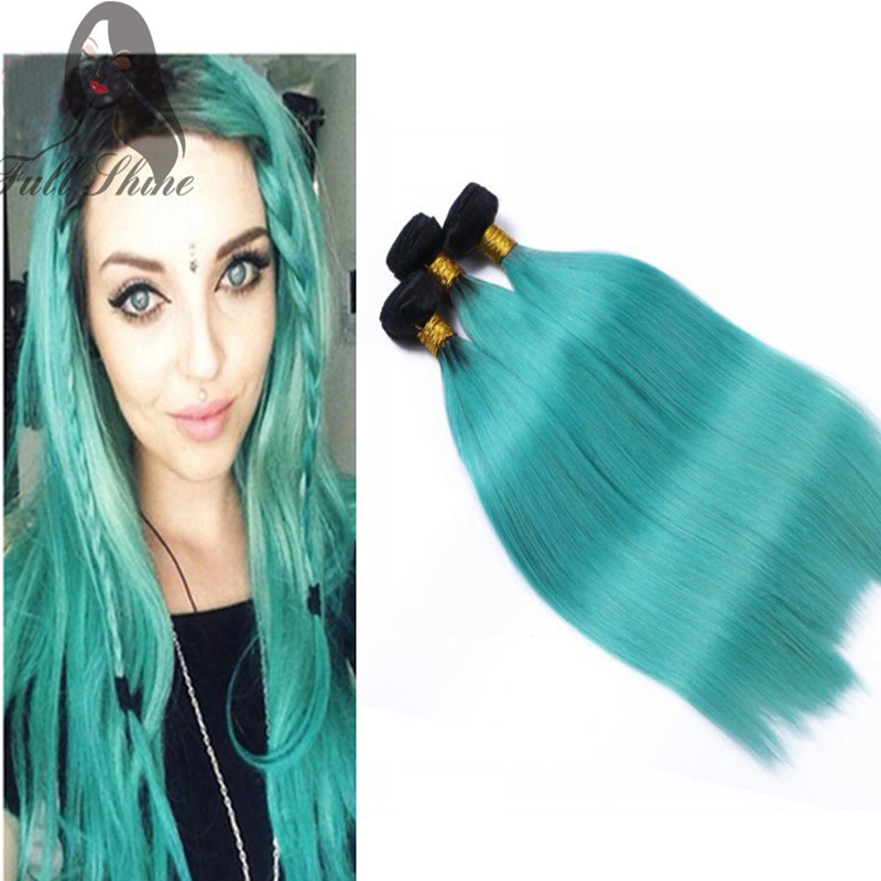 Full Shine 1b Teal Ombre Human Hair Bundles Brazilian Ombre Straight