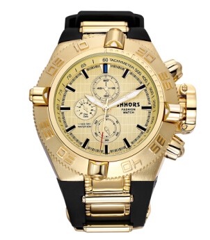 SHHORS Mens Watches Top Gome Big Watch Men Burra Sport Relogios Uji i papërshkueshëm nga uji Quartz Wristwatch Mens Ushtarak