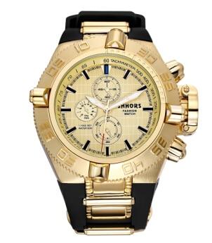 Shhors relojes de hombre Top marca caucho grandes hombres reloj deportivo relogios impermeable Erkek Saat cuarzo reloj hombre militar