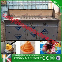 double fry pans ice cream roll machine with 10 pots and display on machine for ice rolls