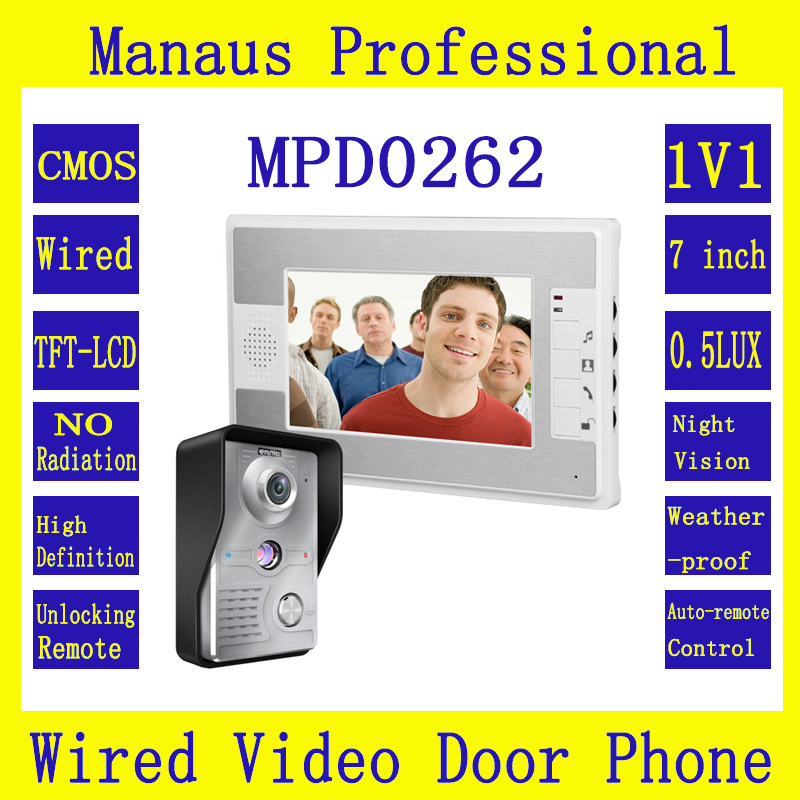 Smarthome 7inch TFT Color Screen Video Door Phone Doorbell Intercom Kit 1-NightVision camera 1-monitor 1V1 Doorphone System D262 7inch tft touch key lcd screen color video door phone doorbell intercom system 700tvl night vision waterproof camera doorphone