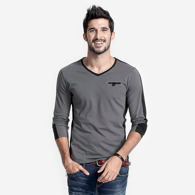 Long Sleeve V Neck Mens T-Shirt Man Slim Fit Fashion Casual Tshirts  Raglan Tee Shirt  Chest Button Patchwork Trendy Tops Homme