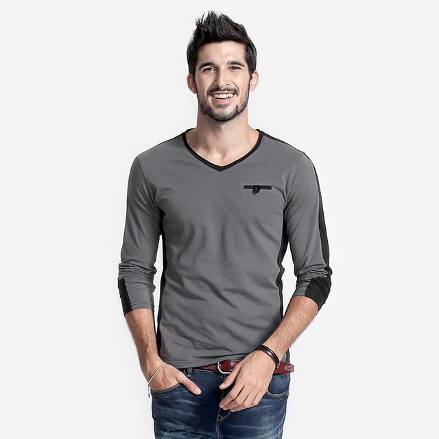 Manga longa V Pescoço Dos Homens Do T-shirt Do Homem Slim Fit Moda Camisetas casuais Tee Raglan Camisa No Peito Botão Patchwork Tops Da Moda Homme