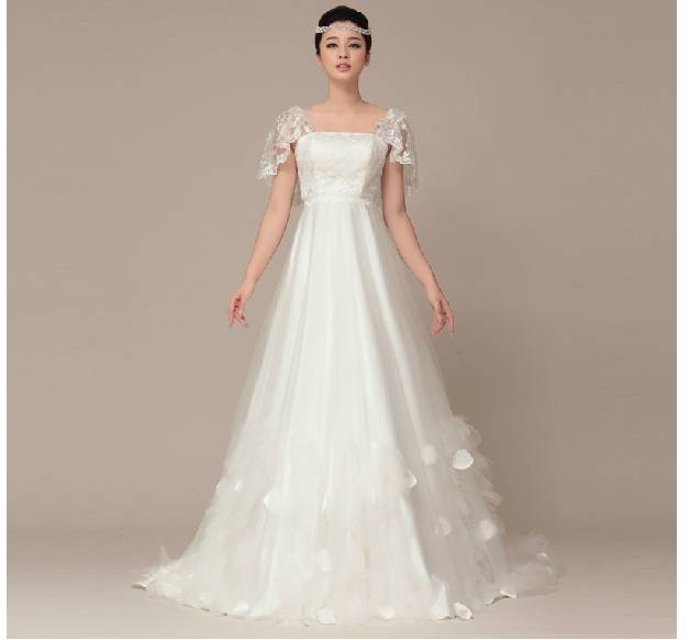 Star of wedding dress with lace shawls high waist han princess grace ...