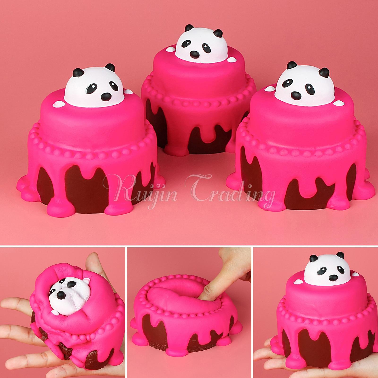 imágenes para 11 CM Panda Pastel Lento Aumento Blandita Correas Lindo Teléfono Reatil embalaje Pastel de Cumpleaños Del Cabrito Juguete Squeeze Suave Crema Perfumada Diversión regalo