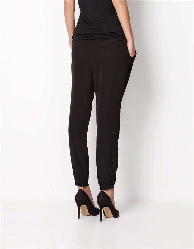 Chiffon Elastic Waist Solid Color Office Pants 7