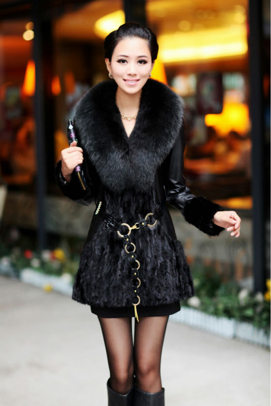 Real genuine leather sleeve black patched long Mink fur coat ...