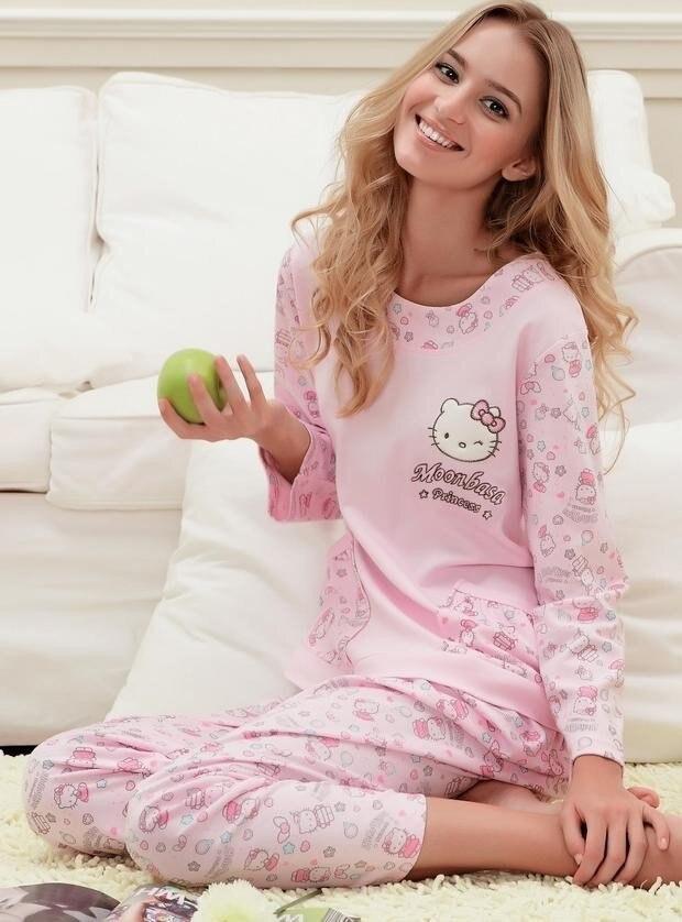 ef5bba1473 Free shipping 100% cotton hello kitty long sleeve women pajamas sleepwear  cartoon pyjamas women wholesale and retail