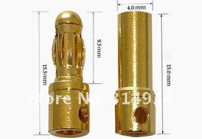 1000 пар/лот золотой разъем Золотая пуля 4,0 мм банан rc разъем