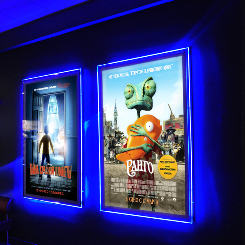 buy ultra thin acrylic frameless led illuminated movie poster frame light box. Black Bedroom Furniture Sets. Home Design Ideas