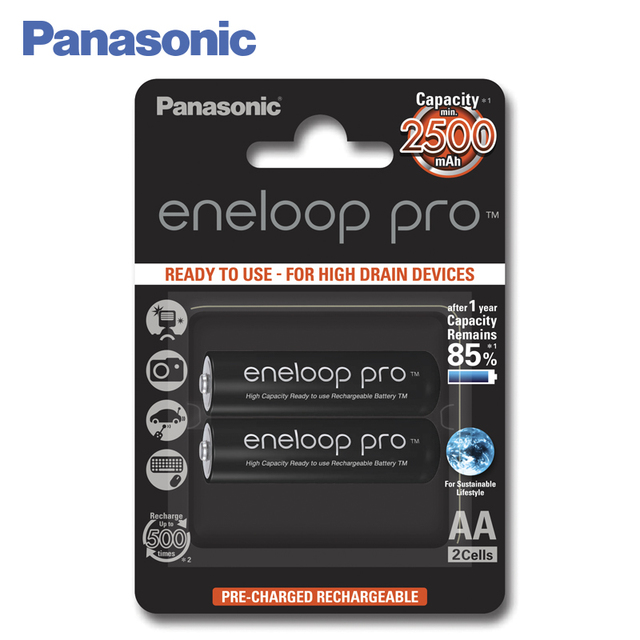 Panasonic BK-3HCDE/2BE Аккумуляторы eneloop pro 2500 мАч AA. Топовая модель высокой емкости и производительности для активных пользователей мощной техники (вспышка для фотокамеры, радиоуправляемые игрушки и пр.)