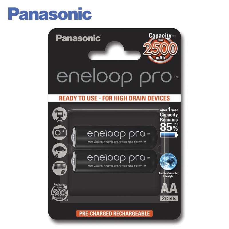 Panasonic BK-3HCDE/2BE Rechargeable Batteries eneloop pro 2500mAh AA 2pcs lot new original 18650 3 6v 2500mah li lon rechargeable battery he4 max 20a 35a discharge batteries free shipping