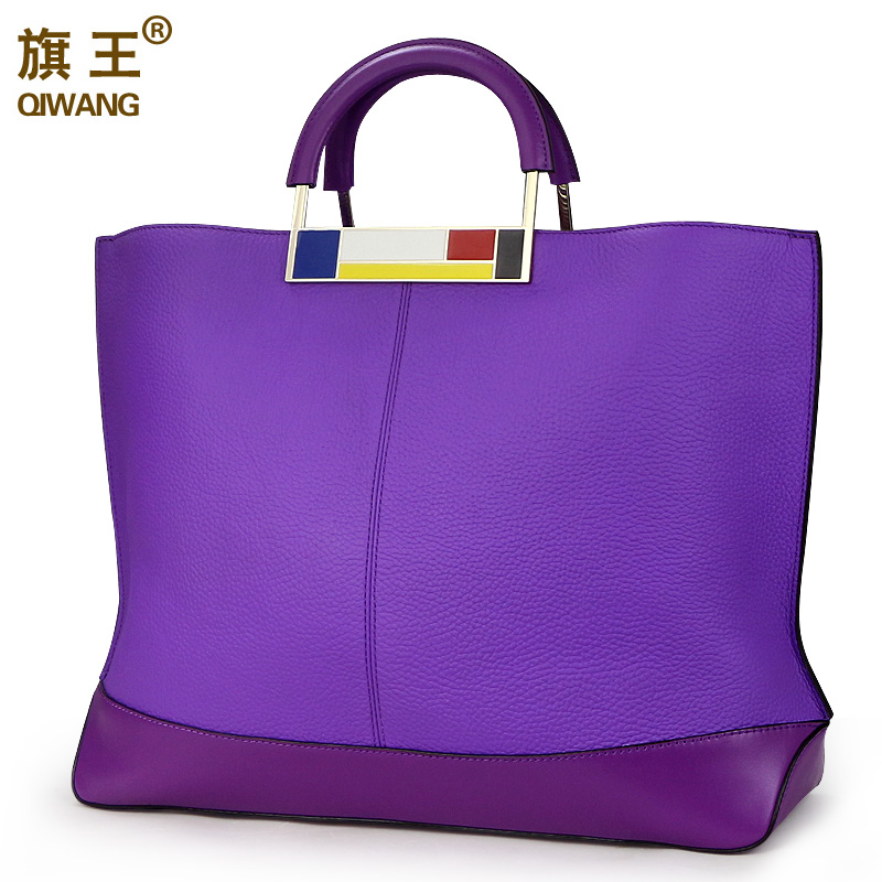 Qiwang Flag Metal Large Tote Bags Purple European Brand Designr Real Leather Women Handbags Ruime Big Bags Laptop Purse Worthy