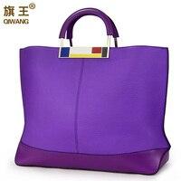 Qiwang Flag Metal Large Tote Bags Purple European Brand Designr Real Leather Women Handbags Roomy Big Bags Laptop Purse Worthy