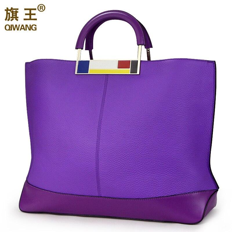 Qiwang pojemna torba tote Bag fioletowy marka europejska torebki damskie projektant prawdziwa skóra kobiety torebka pojemna torba na Laptop torebka godne w Torby z uchwytem od Bagaże i torby na  Grupa 1