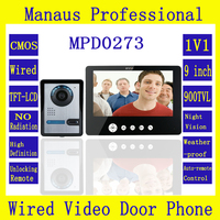 Smarthome 9 TFT Color Screen Video Door Phone Doorbell Intercom Kit 1 NightVision Camera 1 Monitor