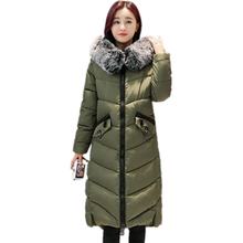 2017 New Fashion Winter Jacket Women Artificial Big Fur Collar Down Coats Long Thick Parkas Womens Winter Jackets And CoatsCM390