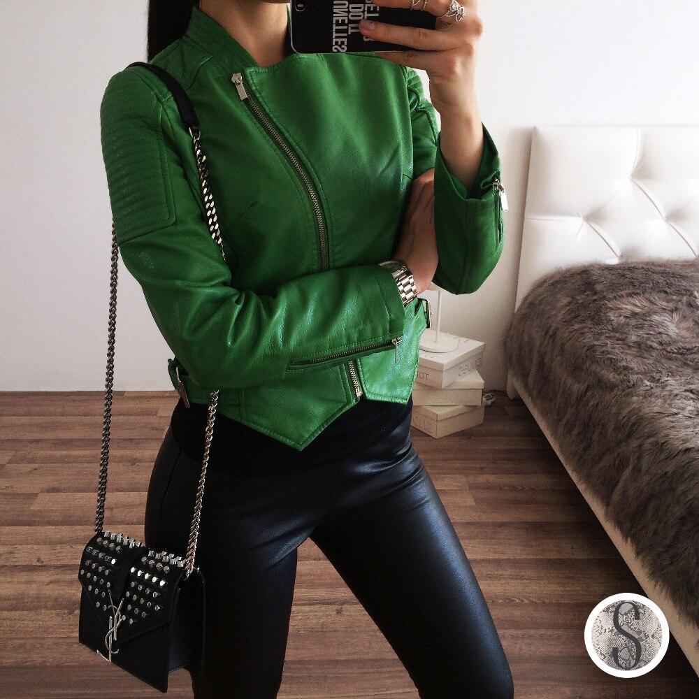 Зеленая женская куртка-косуха из искусственной кожи с Алиэкспресс