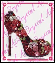 Aidocrystal Rote Kristall Kirsche Brautkleid Schuhe Strass Hochzeit Super High Heels