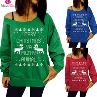 2016 Autumn And Winter Explosion Models Christmas Theme Prints Hedging Sweatshirt Sweater