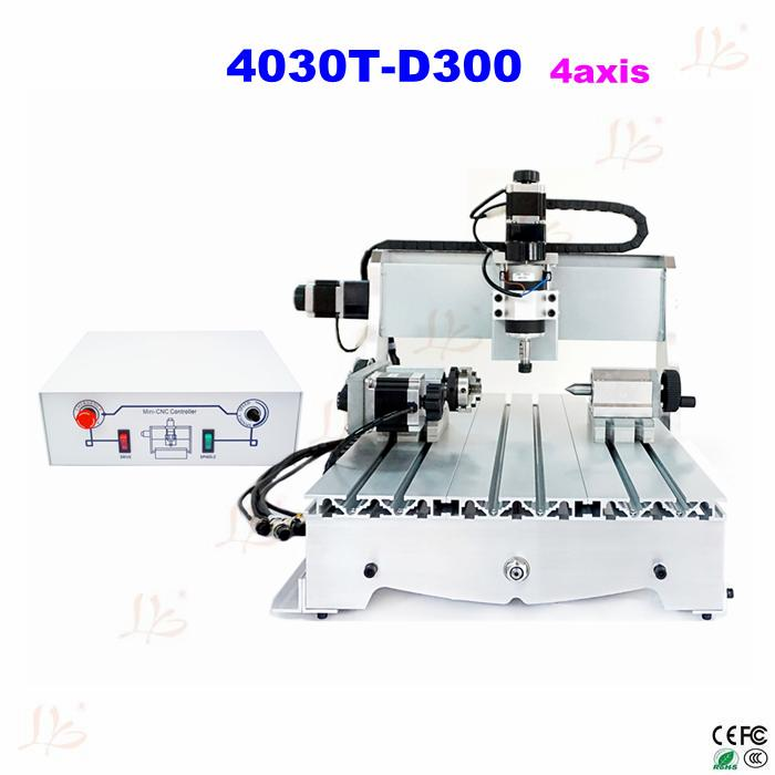 4axis  CNC 4030T-D300 300w spindle Router Engrave mini cnc Milling Machine cnc 5axis a aixs rotary axis t chuck type for cnc router cnc milling machine best quality