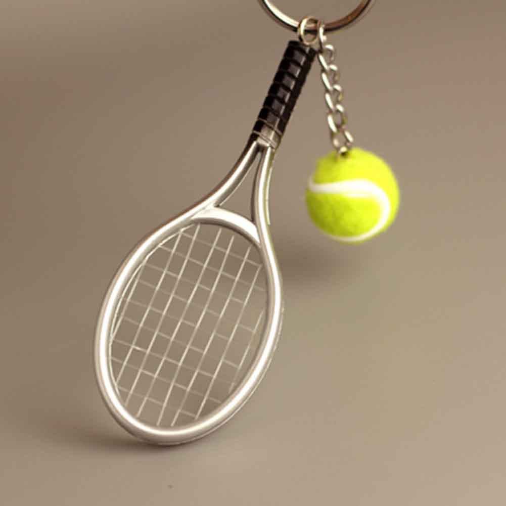 6 Colors Tennis Keychain Key Ring Tennis Racket Model Key