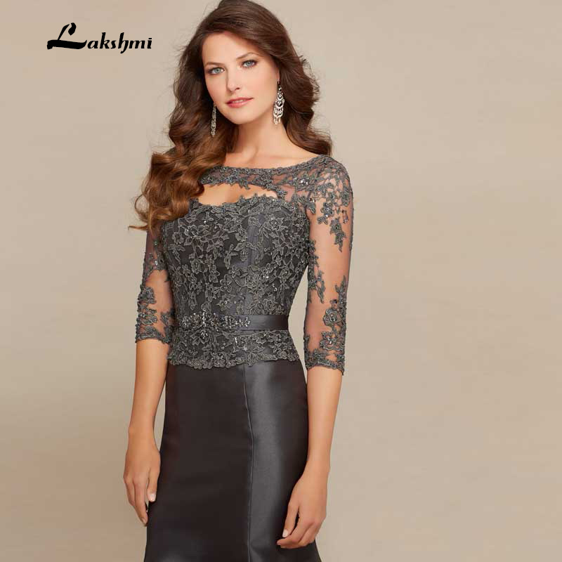 e70651a8cc5 Amazing Mermaid Scoop Neck Three Quarter Beading Lace Satin Dark Gray Long  Mother of the Bride Dresses Elegant Gown-in Mother of the Bride Dresses  from ...