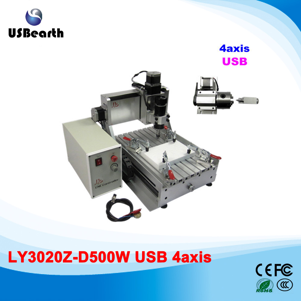 LY 3020Z-D500W USB 4axis CNC router assembled carving machine to Russia free tax 4axis cnc router 3040z vfd800w engraving machine cnc carving machine cnc frame assembled