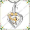CMJ9211 Alto pulido acero inoxidable 316L memorial urnPendant mamá papá de la familia del niño del corazón Collar de la joyería de cremación para cenizas