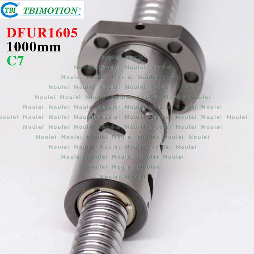 TBI 1605 C7 1000mm ball screw 5mm lead with DFU1605 ballnut + end machined for CNC diy kit DFU set tbi 2510 c3 620mm ball screw 10mm lead with dfu2510 ballnut end machined for cnc diy kit dfu set
