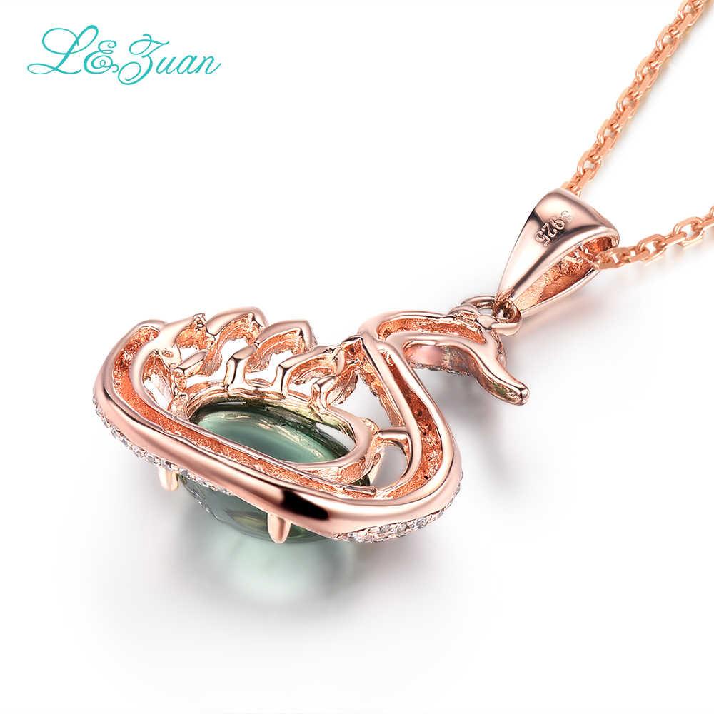 I & zuan 925 серебро 100% натуральный 2.85ct турмалин зеленый камень лебедь кулон ожерелье для женщин ювелирные украшения для вечерние