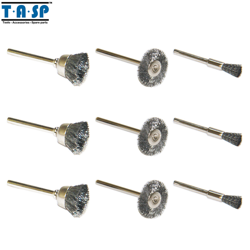 TASP Steel Wire Brushes Wheels 9PC Mini Drill Rotary Tool Abrasive Accessories