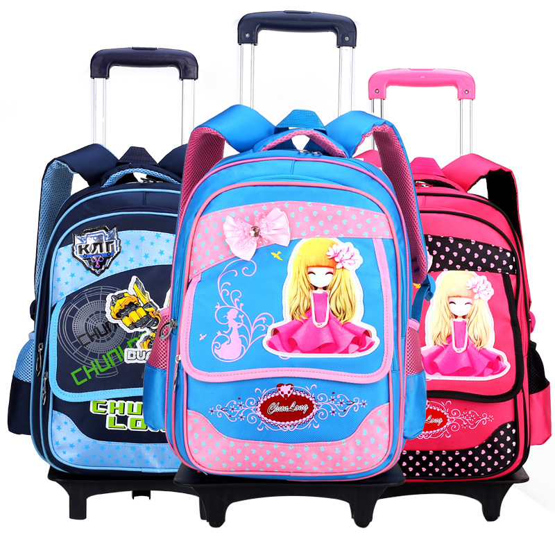 Wheeled bag Children school bags for boys and girls Fashion cartoon printing backpack Nylon Trolley Bag. Can climb the stairs