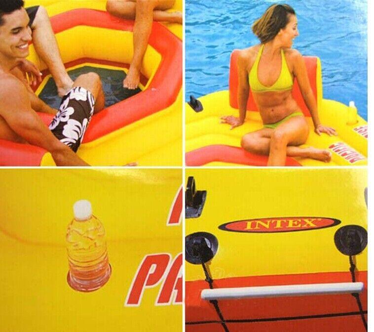 Intex piscine 4 personnes flotteur d'eau gonflable pour fête de famille eau île sports nautiques taille 254*254*6 cm - 5