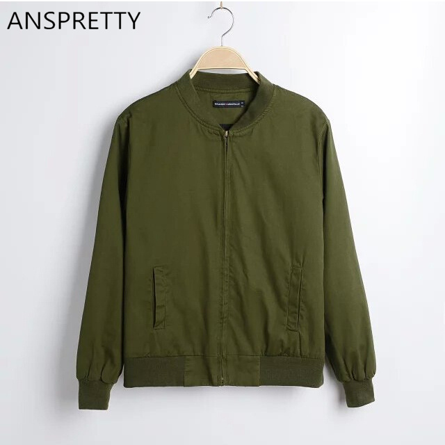 Anspretty Apparel Women army green bomber jacket casual autumn spring female coat high quality black outwear