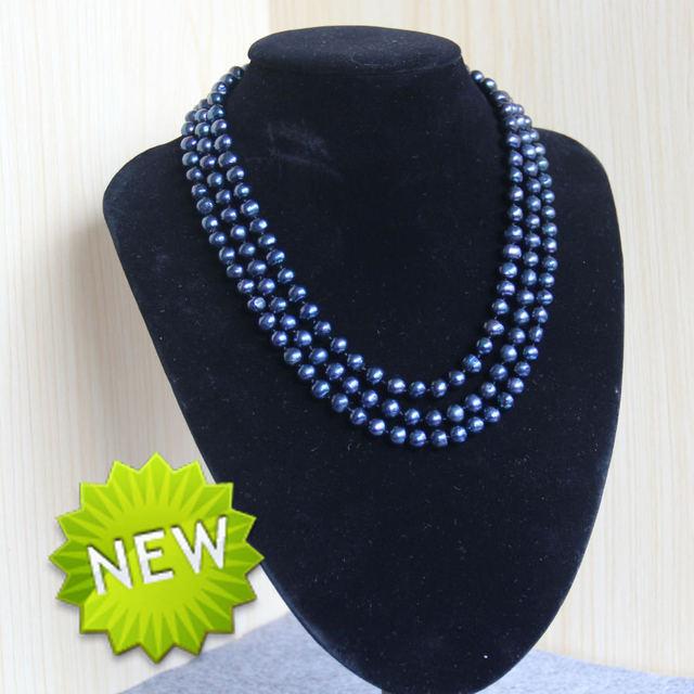 New For Necklace&Bracelet Accessories 7-8mm Natural Round Black Shell pearl beads Necklace for women girls gift Jewelry 15inch