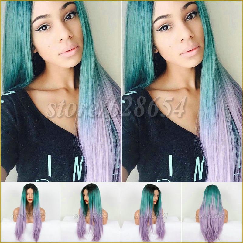 Free shipping Hot Sell Straight Black to Green to Purple Ombre Heat Resistant Hair Cheap Long Synthetic Lace Front Wig for Women от Aliexpress INT