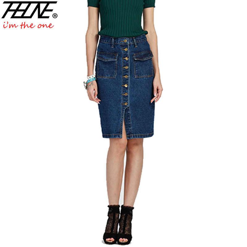 581f6712a9c Thhone Фирменная Новинка Лето Для женщин юбка джинсовая Высокая талия мода  Slim Bodycon Midi Button-