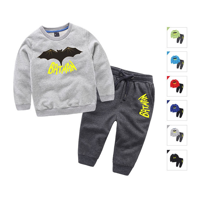 Spring&Autumn batman kids clothing sets cotton boys clothes long sleeve pullover sweater+pants 2pcs suits girls clothes set