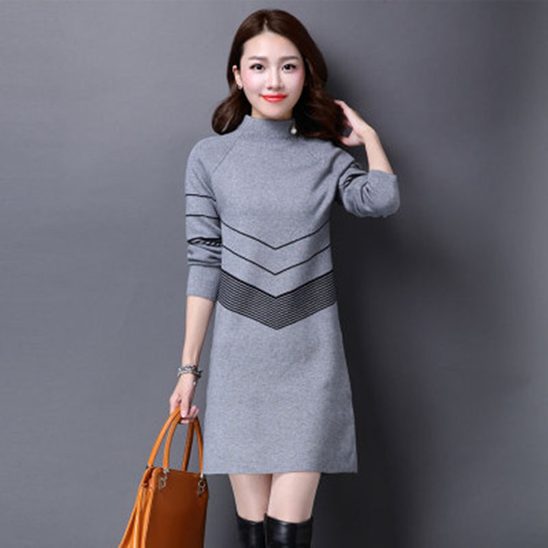 2020 New Autumn Winter Sweater Dress Women Plus Size Turtleneck Sweater Female Long Knitted Pullover Sweater Bottoming Vestido